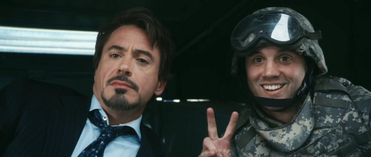 What social media network does Tony Stark mention in the Humvee in Iron Man?